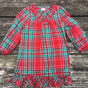 Gymboree Girls Nightgown Size 2T Red Green Plaid